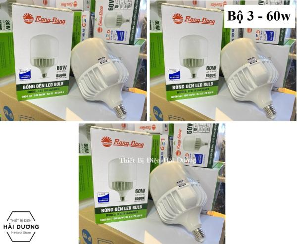 Combo Bộ 3 Bóng đèn LED BULB Trụ 60W - 80W Rạng Đông - Sử dụng Chip LED Samsung - Bảo hành 24 tháng