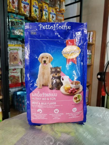 Combo 10 gói Thức ăn cho chó con vị bò và sữa SmartHeart Puppy 400g