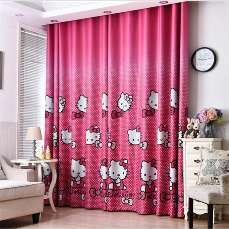 Rèm vải dày che nắng tốt cách nhiệt kitty hồng chấm bi 1m x 2.7m cao