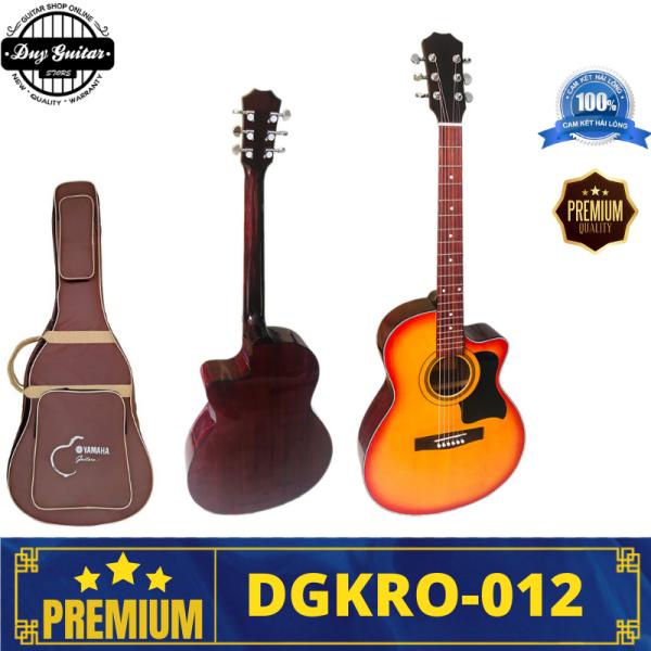 Đàn guitar acoustic màu đỏ cherry dáng A khuyết DGKRO-012 cherry sunburst Duy Guitar Store Dòng đàn ghitar có âm thanh tốt giá rẻ dành cho bạn mới tập
