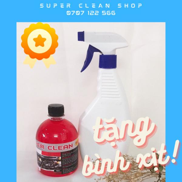 [TẶNG KÈM BÌNH XỊT] Siêu tẩy rửa XE MÁY, ĐẦU BÒ, LỐC MÁY Super Clean SIÊU SẠCH   dùng cho Xe MÁY Ô TÔ