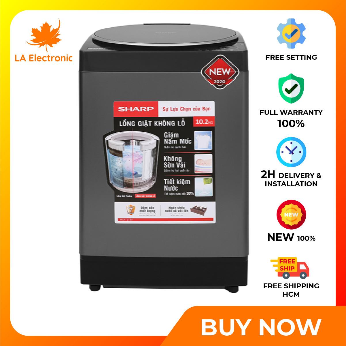 [GIAO HÀNG 2 - 15 NGÀY, TRỄ NHẤT 15.08] [Trả góp 0%]Installment 0% - Máy giặt - Sharp washing machine 10.2 kg ES-W102PV-H thiết kế thông minh công nghệ hiện đại hoạt động mạnh mẽ và bền bỉ có chế độ bảo hành và xuất xứ rõ ràng - Miễn phí vận chuyển HCM