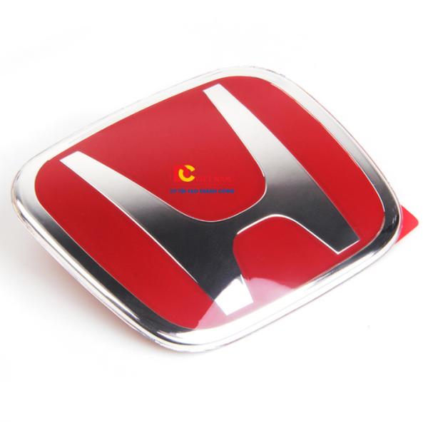 Logo biểu tượng vô lăng xe ô tô Hon.da kính thước 50*40mm (Màu đỏ)