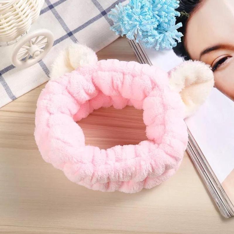 Băng đô nhung rửa mặt trang điểm tai thú Hàn Quốc dễ thương màu hồng giá rẻ