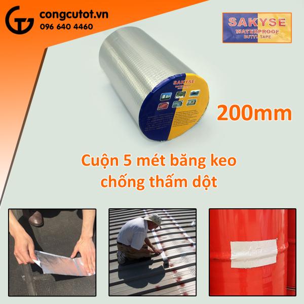 Băng keo siêu dính đa năng - Keo chống dột, chống thấm Nhật Bản SAKYSE khổ 200mm x 5m - Cấu tạo 4 lớp dày dặn. Thiết kế màng nhôm ô vuông, dễ dàng gấp, uốn. Độ dinh cao sản phẩm chất lượng