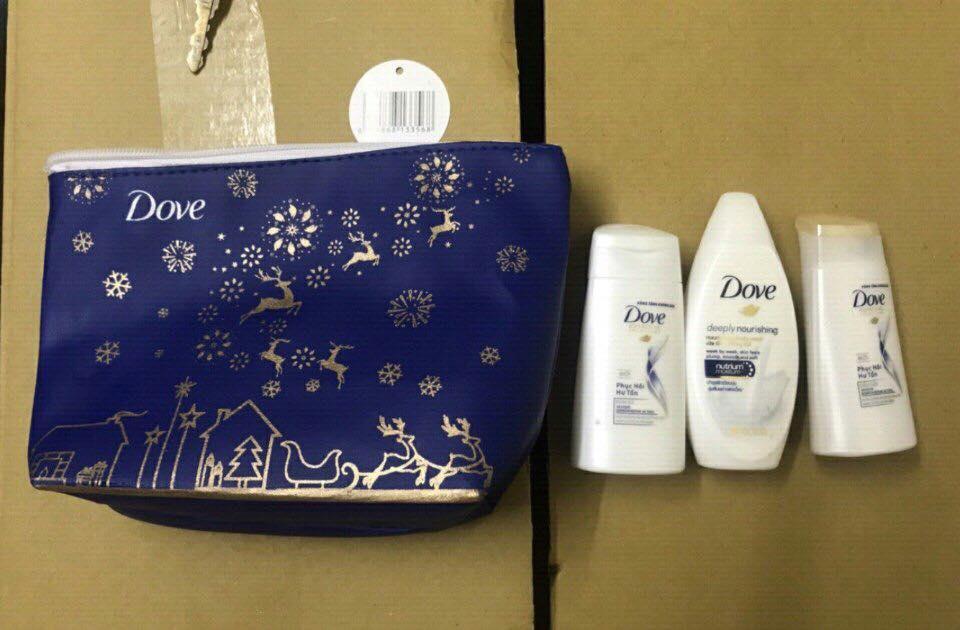 Set quà tặng du lịch thương hiệu Dove gồm 4 món