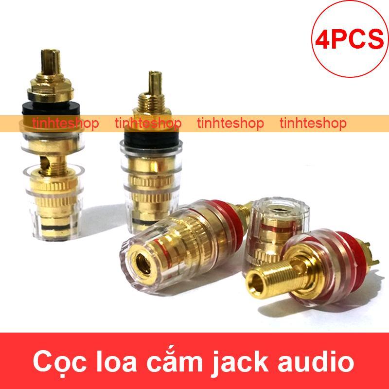 Cọc loa 3 tác dụng Bắp chuối - Càng cua - Mỏ chim cho Loa Amplifier  - Giắc cắm âm thanh cho Loa Ampli (4 chiếc)