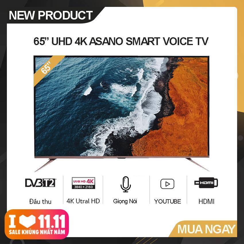 Bảng giá Smart Voice Tivi Asano 65 inch Ultra HD 4K - Model 65EK7 (Đen) Hệ điều hành Android 7.1, Kết nối Bluetooth, Điều khiển giọng nói, Tích hợp DVB-T2 - Bảo Hành 2 Năm