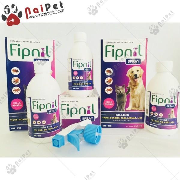 Dung Dịch Loại Bỏ Ve Rận Bọ Chét Chó Mèo Fipnil Spray 250ml