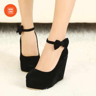 DONGZHU Giày nữ bít mỏ đế xuồng 11cm da lộn phong cách Hàn Quốc màu đen/đỏ - INTL