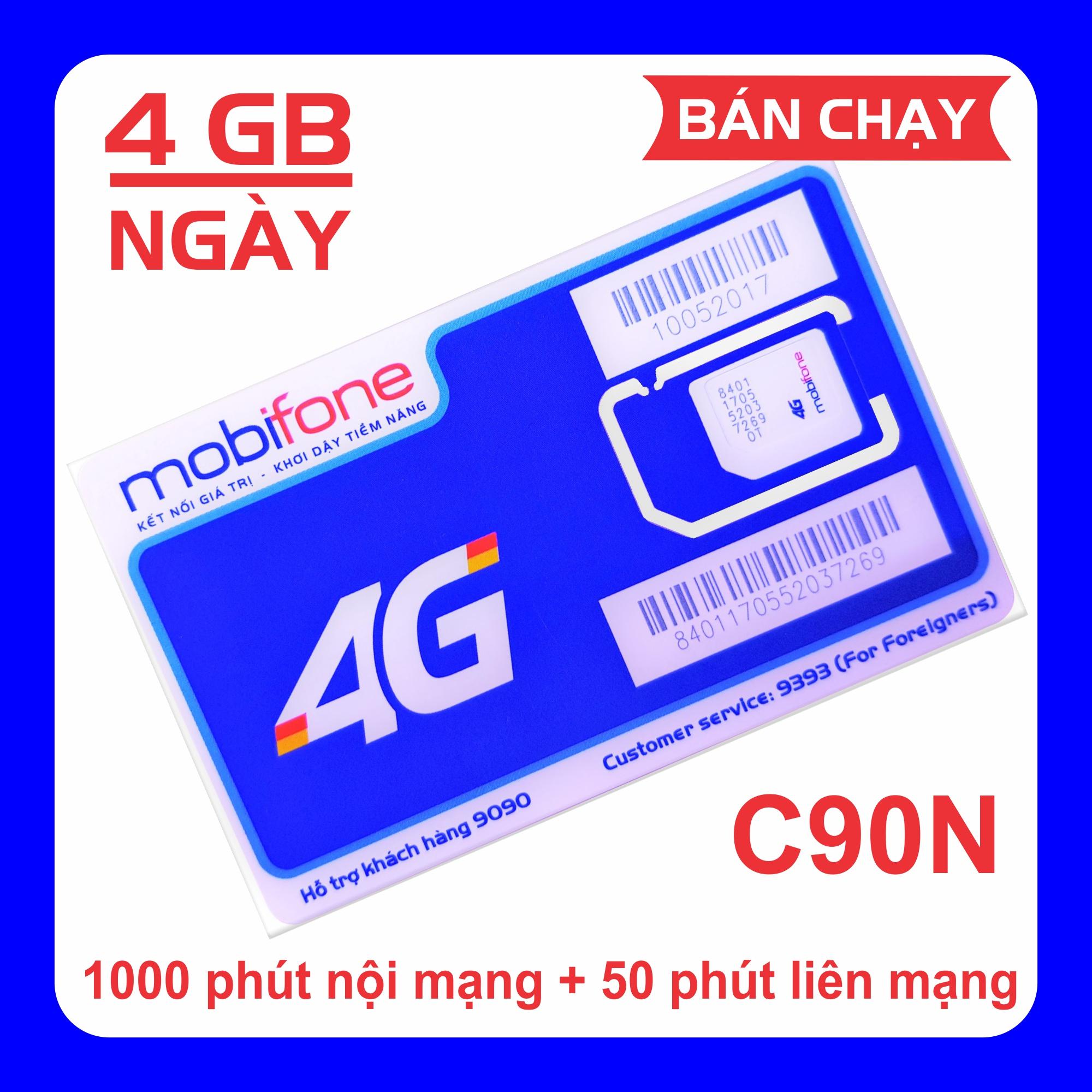 Sim 4G MobiFone C90N Miễn Phí Tháng đầu 120 GB/tháng (4 GB/ngày + 1000 Phút Nội Mạng + 50 Phút Liên Mạng) Siêu Ưu Đãi tại Lazada