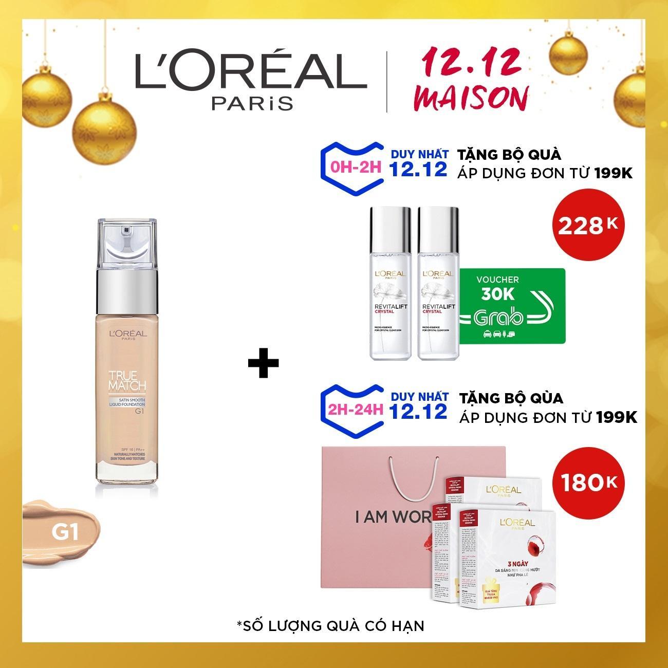 Offer Khuyến Mại Kem Nền Mịn Da Dạng Lỏng L'Oreal Paris True Match Liquid Foundation 30ml