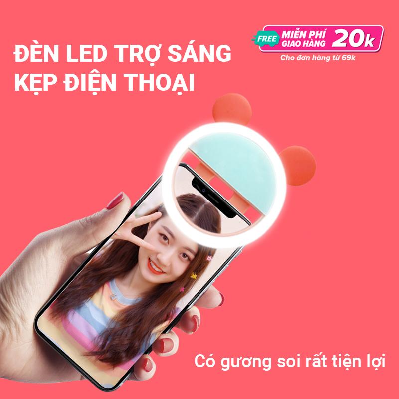 Đèn LED trợ sáng kẹp điện thoại chuyên dành cho selfie/livestream, ánh sáng trắng dịu nhẹ, có kèm gương soi rất tiện lợi, dung lượng pin lớn sử dụng liên tục, tạo hình tai mèo dễ thương