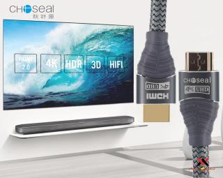 Cáp HDMI Choseal 2.0 4K Cao Cấp loại tròn 5m dành cho Tivi máy tinh 3D 4k Máy Chơi Game PlayStation Xbox đầu HD Box Đầu Android Tv Smart máy chiếu 4