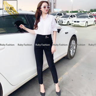 Quần baggy nữ Ruby Fashion công sở khoá sườn kèm khuyên BANANA thumbnail