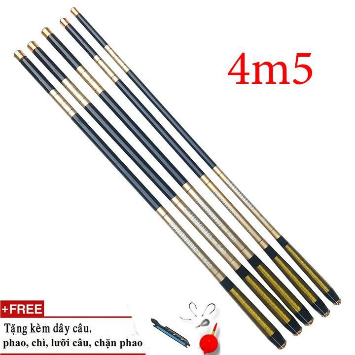 Cần câu tay SHIMANO 5H cacbon cao cấp ( tặng phụ kiện ) - Cỡ: 4m5