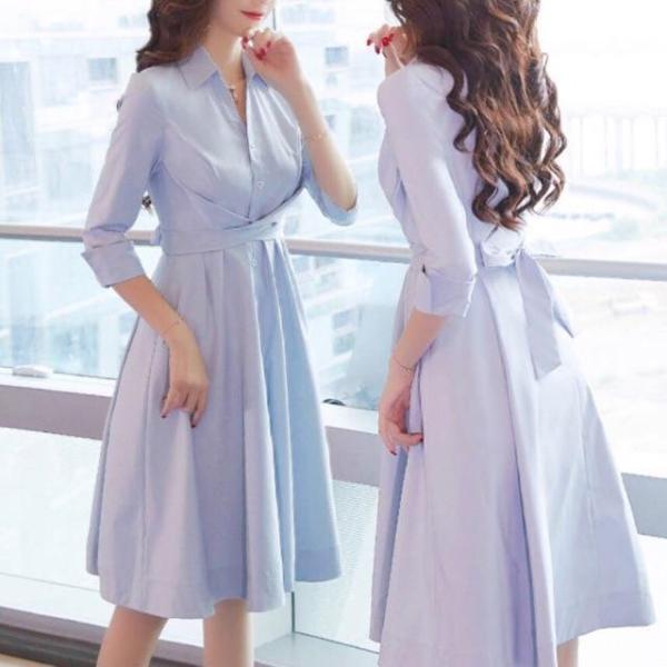 Nơi bán [HCM]Đầm Xanh Cột Chéo Eo (kèm hình thật)