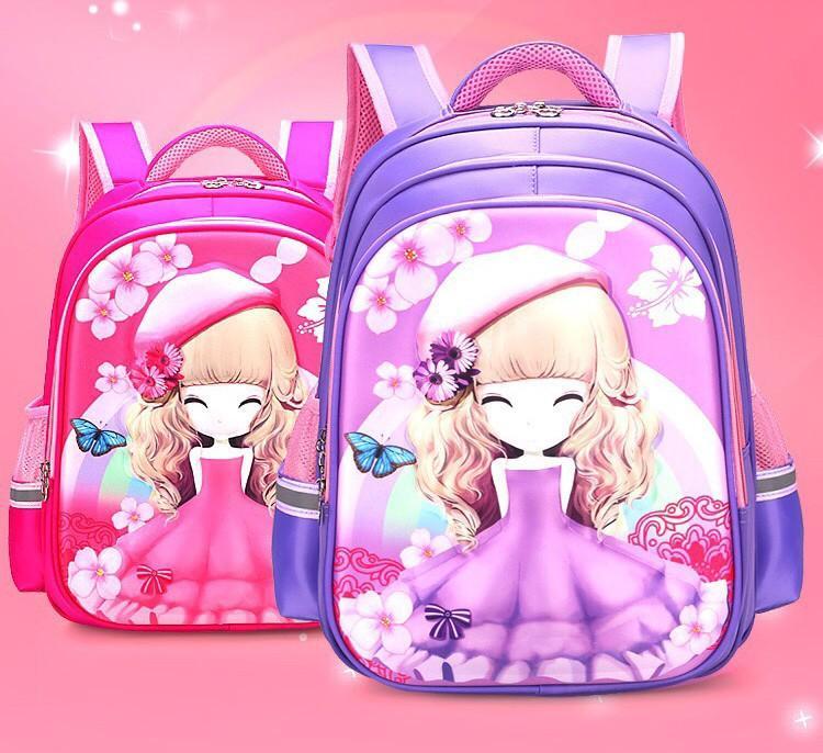 Balo trẻ em hình công chúa 3D Siêu nhẹ Kèm bộ đồ dùng học tập Nhật Bản