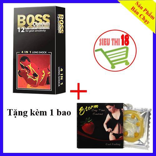 [ 13 BCS ] 1 Hộp Bao Cao Su Gai Kéo Dài Thời Gian Boss 12 cái Tặng 1 BCS Storm Bi