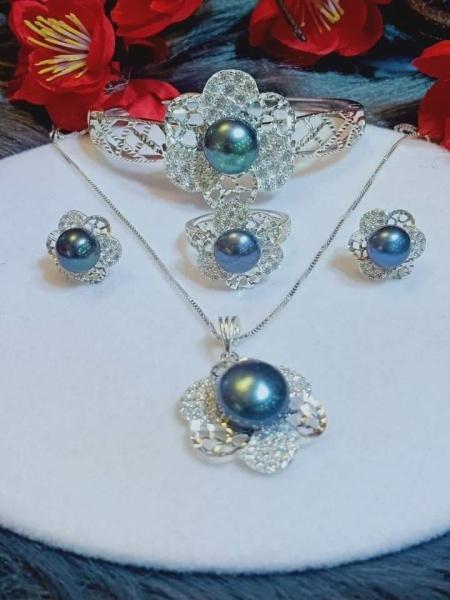 Bộ trang sức Kiềng bạc Ngọc trai nước ngọt thiết kế Tuyệt đẹp