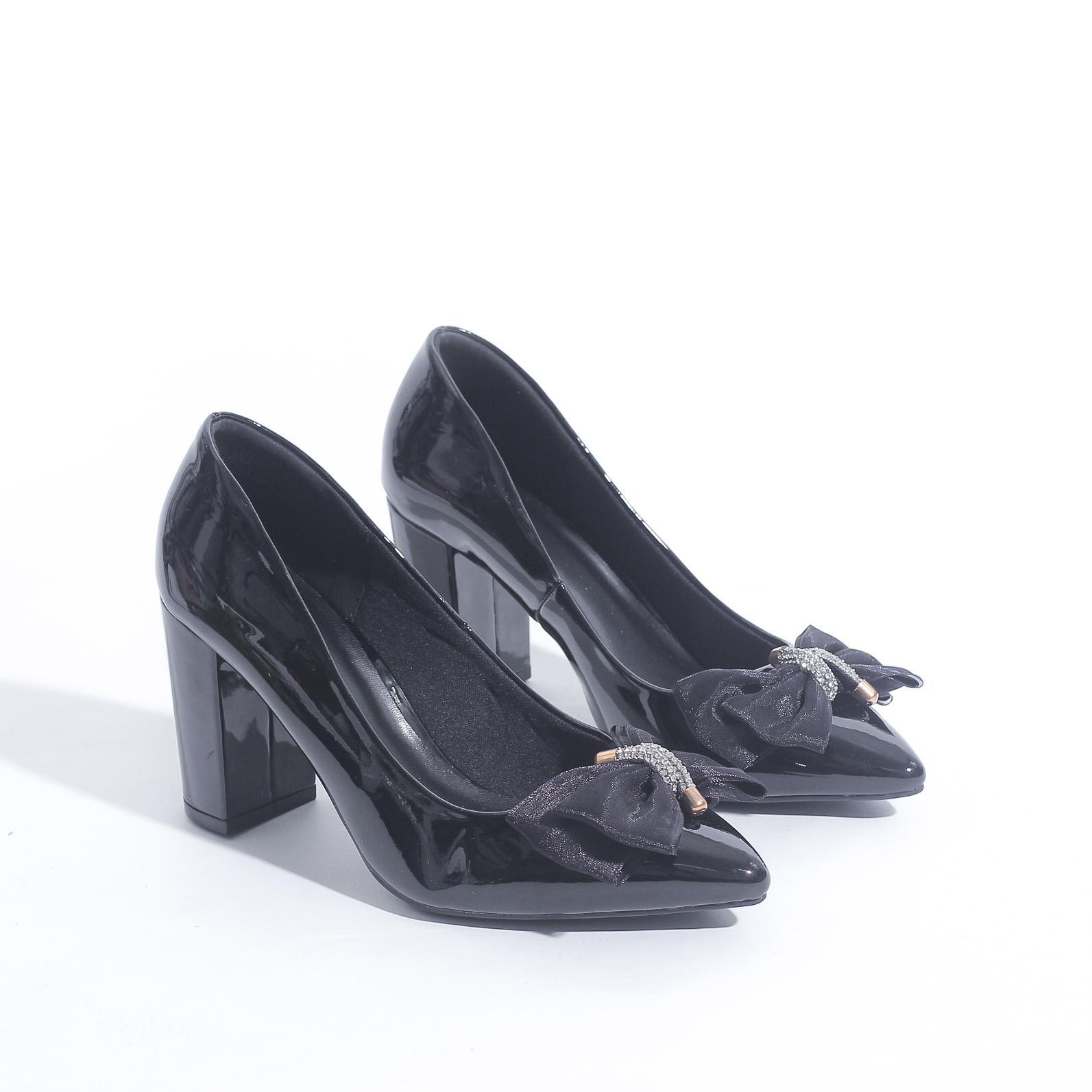 Giày Cao Gót Đế Vuông 7cm Da Bóng Nơ Lưới Pixie X407