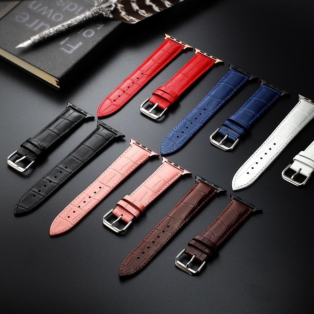 Dây đồng hồ bằng da thật cho Apple Watch 6 SE 5 4 3 2 1 44mm 38mm 42mm 40mm thiết kế đơn giản sang trọng - INTL