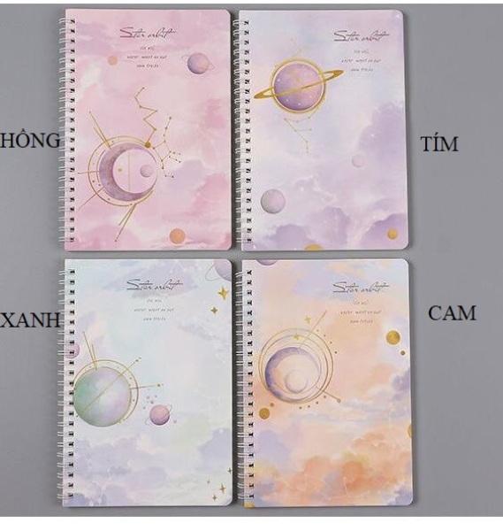 [Tặng kèm 1 bút viết] Sổ tay lò xo kẻ ngang A5 Ngân Hà, 120 trang, kích thước: 21x14.2cm - SakuraShop
