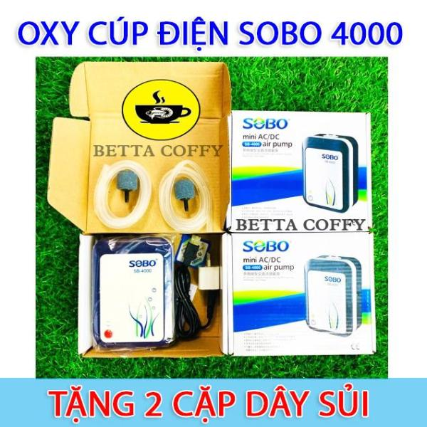 Máy Sủi Tích Điện Sobo 4000 - Tặng 2 Cặp Dây Sủi Oxi - Cúp Điện cũng có Oxy