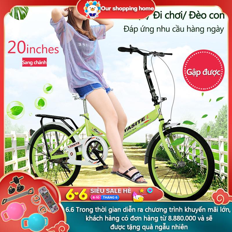 Mua Xe đạp 20 inch có thể gấp gọn 2 màu xanh lam xanh lá xe đạp cho thanh niển, người già Our shopping home