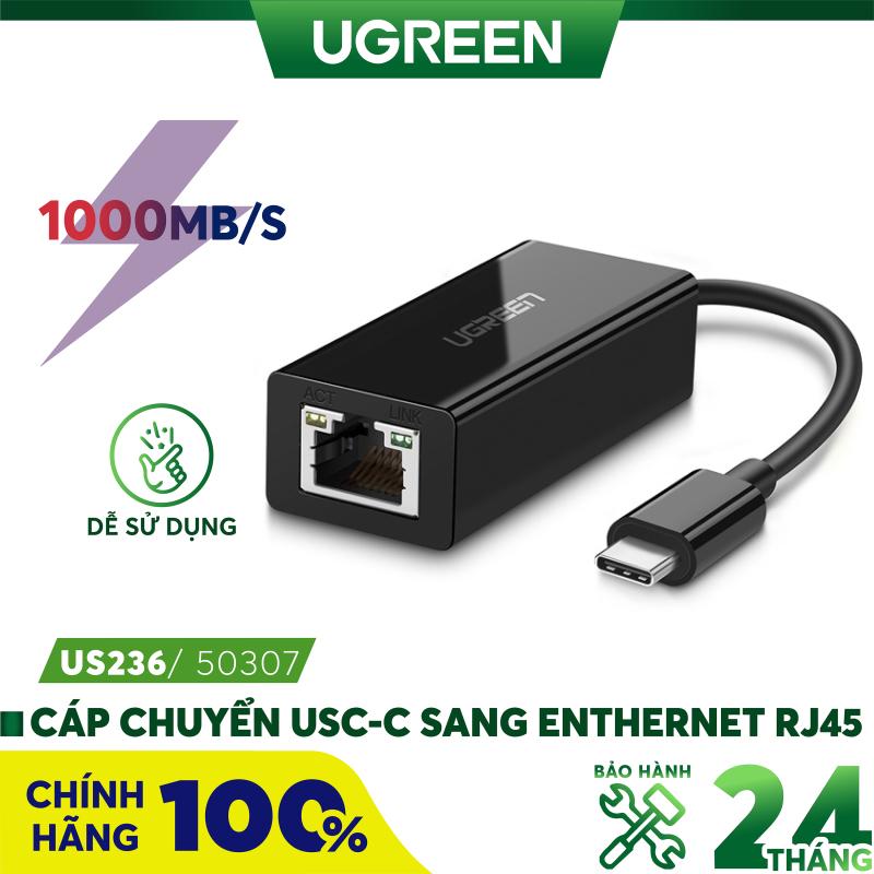 Bảng giá [Nhập ELMAY21 giảm thêm 10% đơn từ 99k] Cáp chuyển đổi USB type C sang đầu mạng Ethernet RJ45 Gigabit UGREEN US236 50307 - Hãng phân phối chính thức Phong Vũ