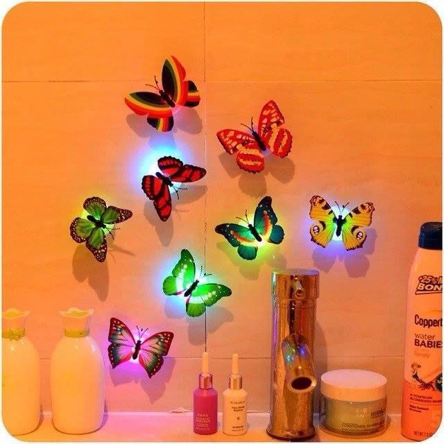 Combo 3 đèn led bướm dán tường xinh xắn