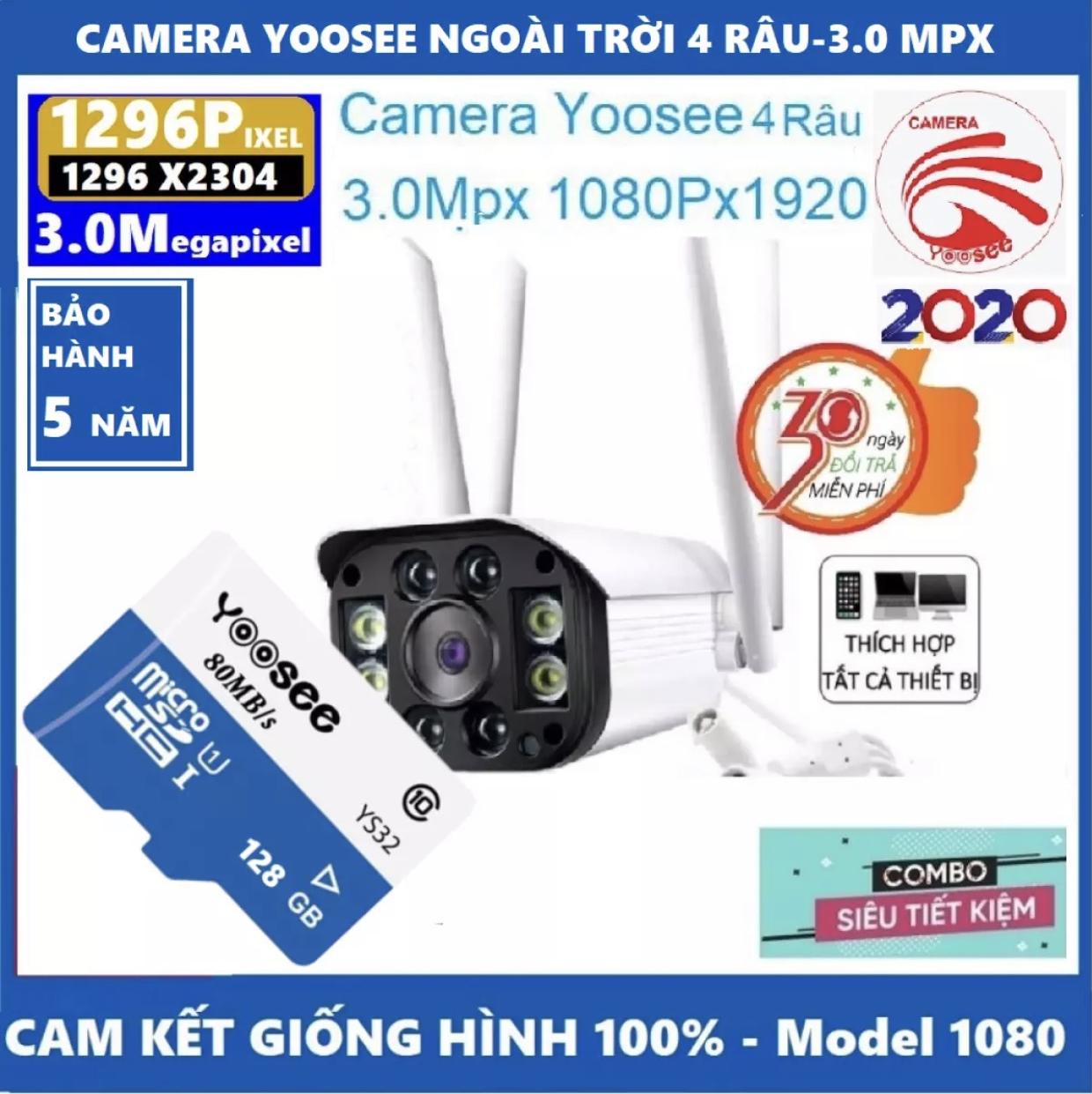 ( CAMERA YOOSEE-TẶNG THẺ NHỚ 128GB YOOSEE CHO MÃ 499k VÀ KHÔNG THẺ CHO MÃ 415K ) camera wifi 3.0 ngoài trời - trong nhà camera yoosee 4 Râu 3.0 Mpx full hd 1080p - hỗ trợ 4 đèn hồng ngoại và 4 đèn LED