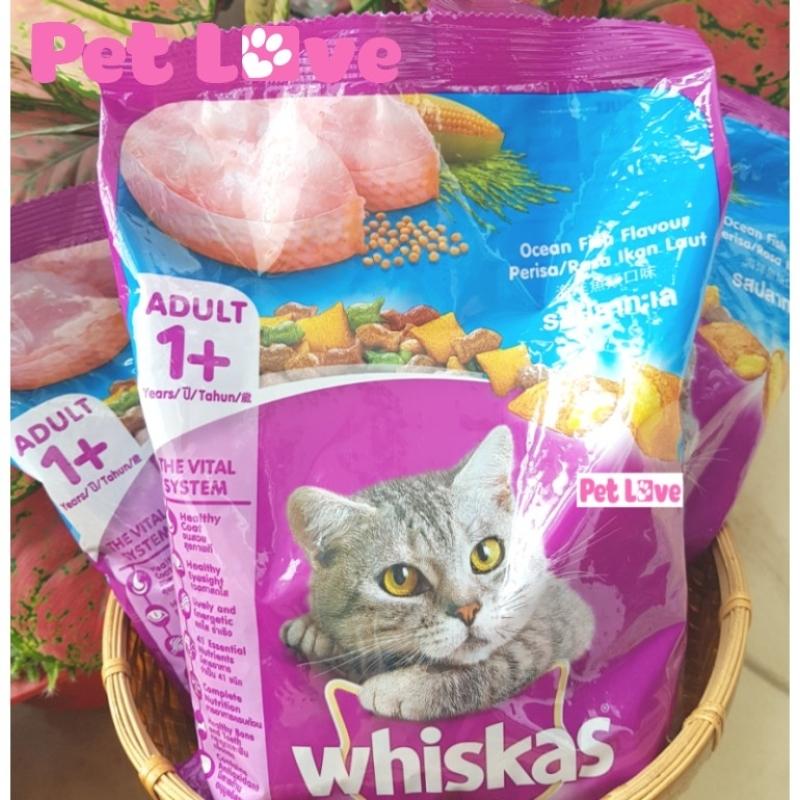 Combo 3 Whiskas thức ăn hạt cho mèo lớn (vị cá biển, 3 x 400g/ gói = 1,2kg)
