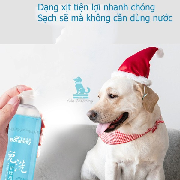 Sữa tắm khô cho chó mèo Borammy khử mùi diệt khuẩn mùi hương nhẹ nhàng dưỡng lông mềm mượt - 200ml