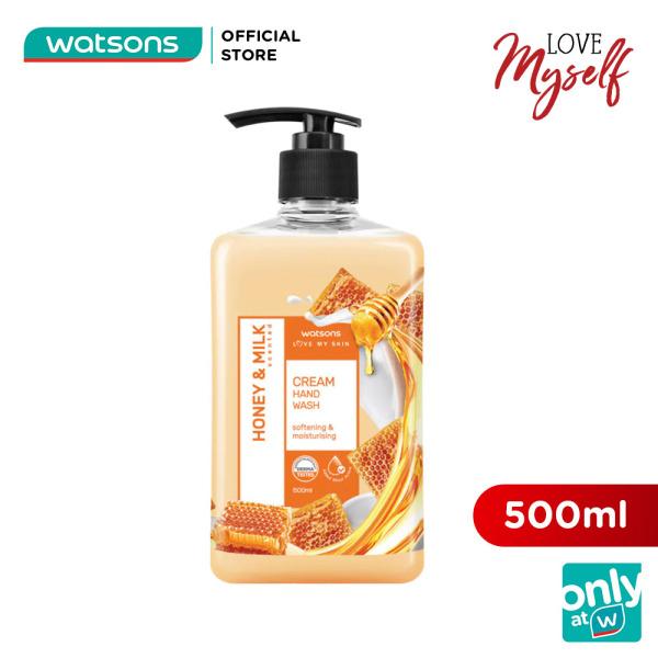 Kem Rửa Tay Watsons Love My Skin Honey & Milk Scented Cream Hand Soap Chiết Xuất Mật Ong & Sữa 500ml