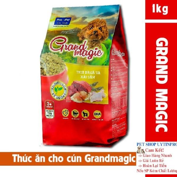 THỨC ĂN CAO CẤP CHO CHÓ Grand magic Dạng viên vị thịt bò, gà và hải sảnTúi 1kg Xuất xứ Pro-Pet Việt Nam