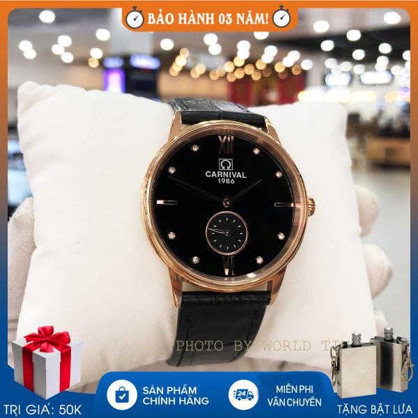 Nơi bán Đồng hồ nam dây da Carnival 8708G mặt kính saphire chống xước, fullbox và bảo hành 3 năm