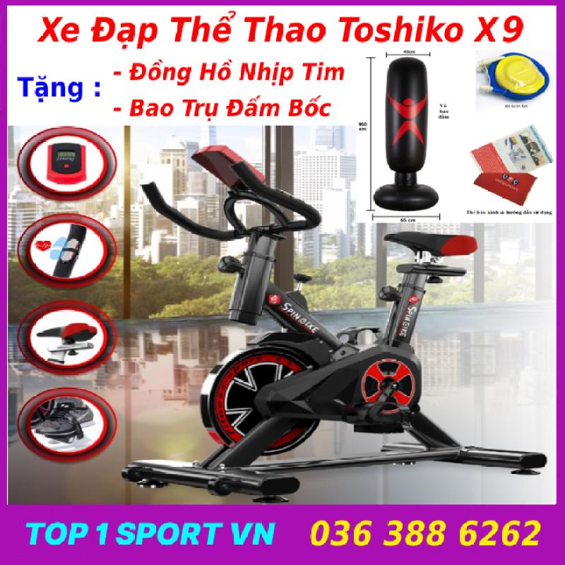 Xe đạp tập thể dục thể thao tập gym tại nhà Toshiko X9 chính hãng tặng kèm đồng hồ cảm biến nhịp tim + trụ đấm bốc - bảo hành 3 năm