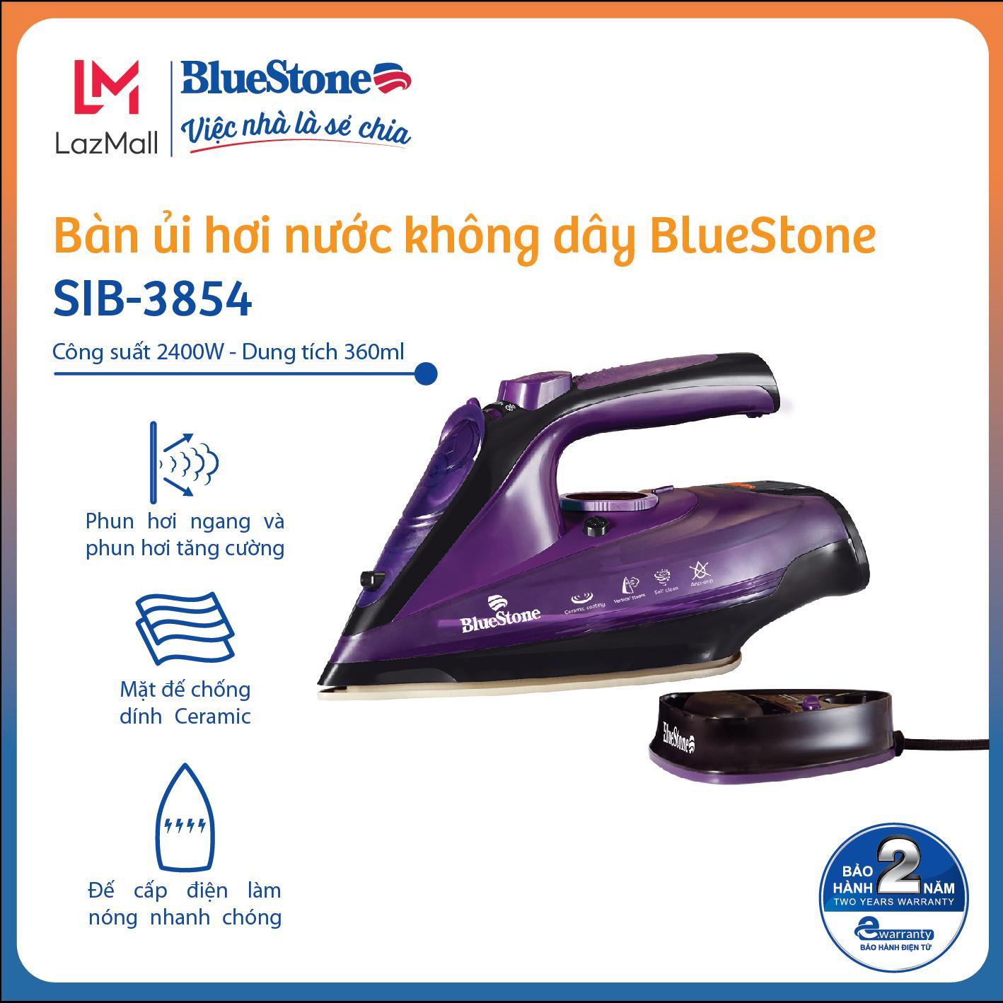 Bàn Ủi Hơi Nước không dây BlueStone SIB-3854 (2400W) - Mặt đế chông dinh Ceramic cao cấp - Đa mức độ nhiệt và hơi phù hợp nhiều loại vải- Bảo hành 24 tháng- Hàng Chính Hãng