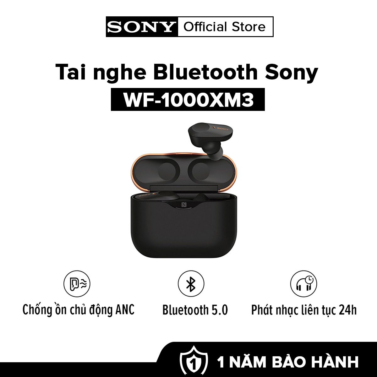 [HÀNG CHÍNH HÃNG - TRẢ GÓP 0%] Tai nghe Sony True Wireless WF-1000XM3 l Bluetooth 5.0 l Chống ồn chủ động l Google Assistant l Phát nhạc liên tục 8h