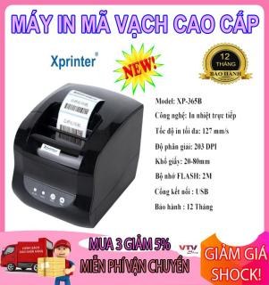 Máy In Tem Xprinter XP-365B - Máy in mã vạch - Máy in mã vạch 2 chức năng in cả hóa đơn, Tem nhãn,khổ in 80mm,in nhiệt trực tiếp lên giấy decal,hàng NK,Bảo Hành 1 đổi 1 toàn quốc thumbnail