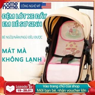 Đệm lót xe đẩy miếng lót xe đẩy em bé miếng kê đệm xe đẩy vải xenlullo 3D thoáng mát kèm gối đầu cho em bé 2 màu ếch xanh và nấm hồng Redepshop thumbnail