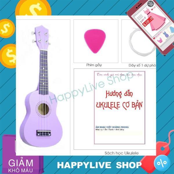 Đàn Ukulele Soprano Gỗ (cần gỗ) - Tặng sách học + phím gảy + dây dự phòng - HappyLive Shop