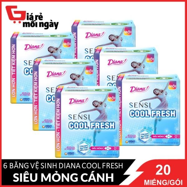 COMBO 6 gói băng vệ sinh Diana Sensi Cool Fresh siêu mỏng cánh 20 miếng/gói X6