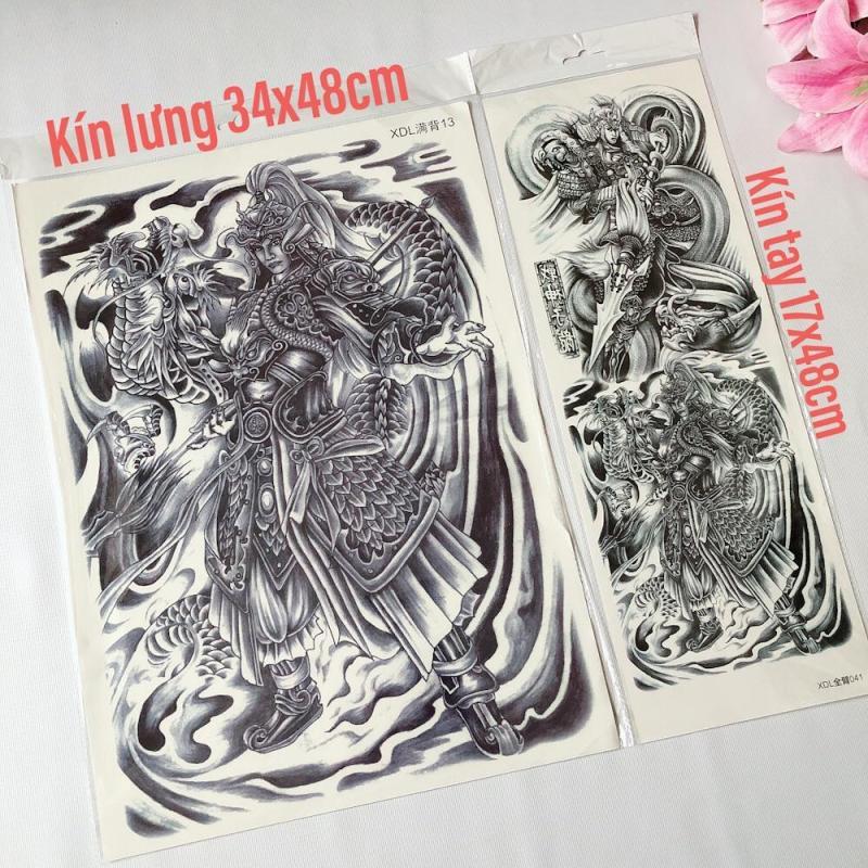 Combo 2 tấm hình xăm dán tattoo kín lưng 34x48cm và kín tay 17x48cm TRIỆU TỬ LONG (Mua 2 tặng 1. Chọn mẫu tùy thích) nhập khẩu