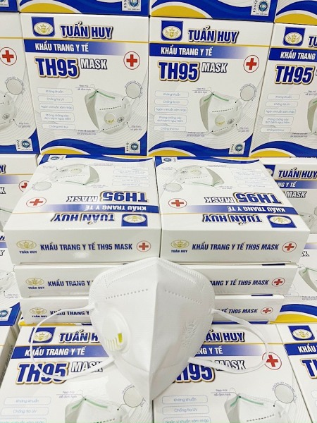 Hộp 10 chiếc khẩu trang KN95 TUẤN HUY CÓ VAN Đệm Bông Với 5 lớp chống bụi và kháng khuẩn, khẩu trang y tế người lớn