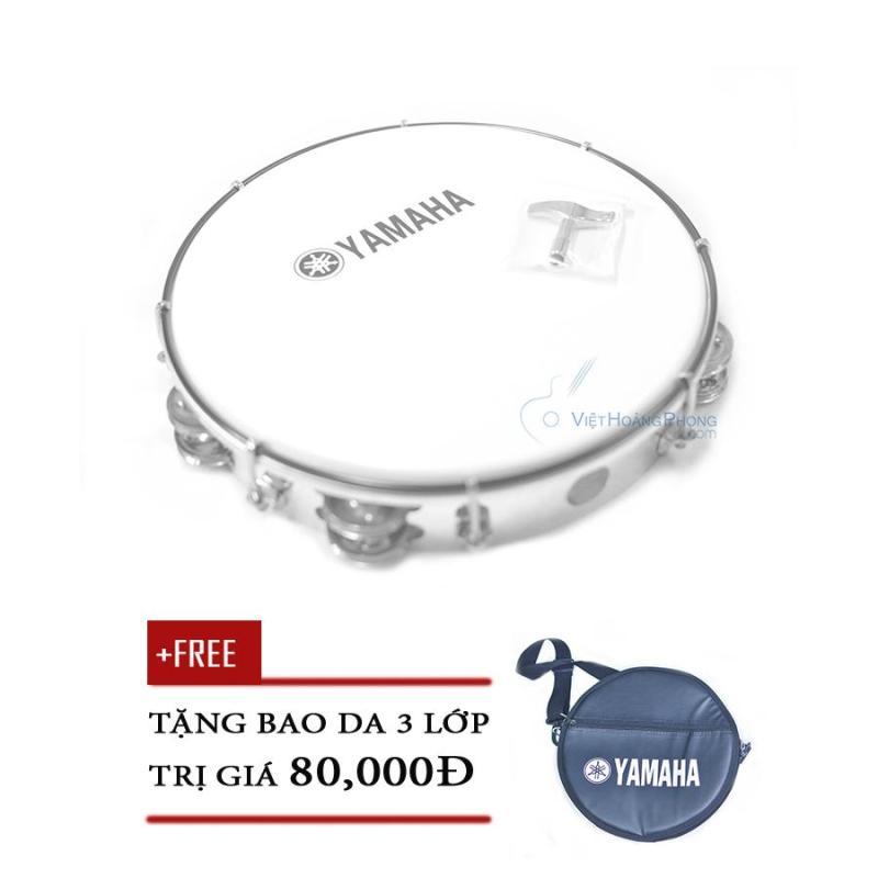 Trống lắc tay - trống gõ bo - Tambourine Yamaha MT6-102A (Trắng đục) + Bao da 3 lớp - Việt Hoàng Phong