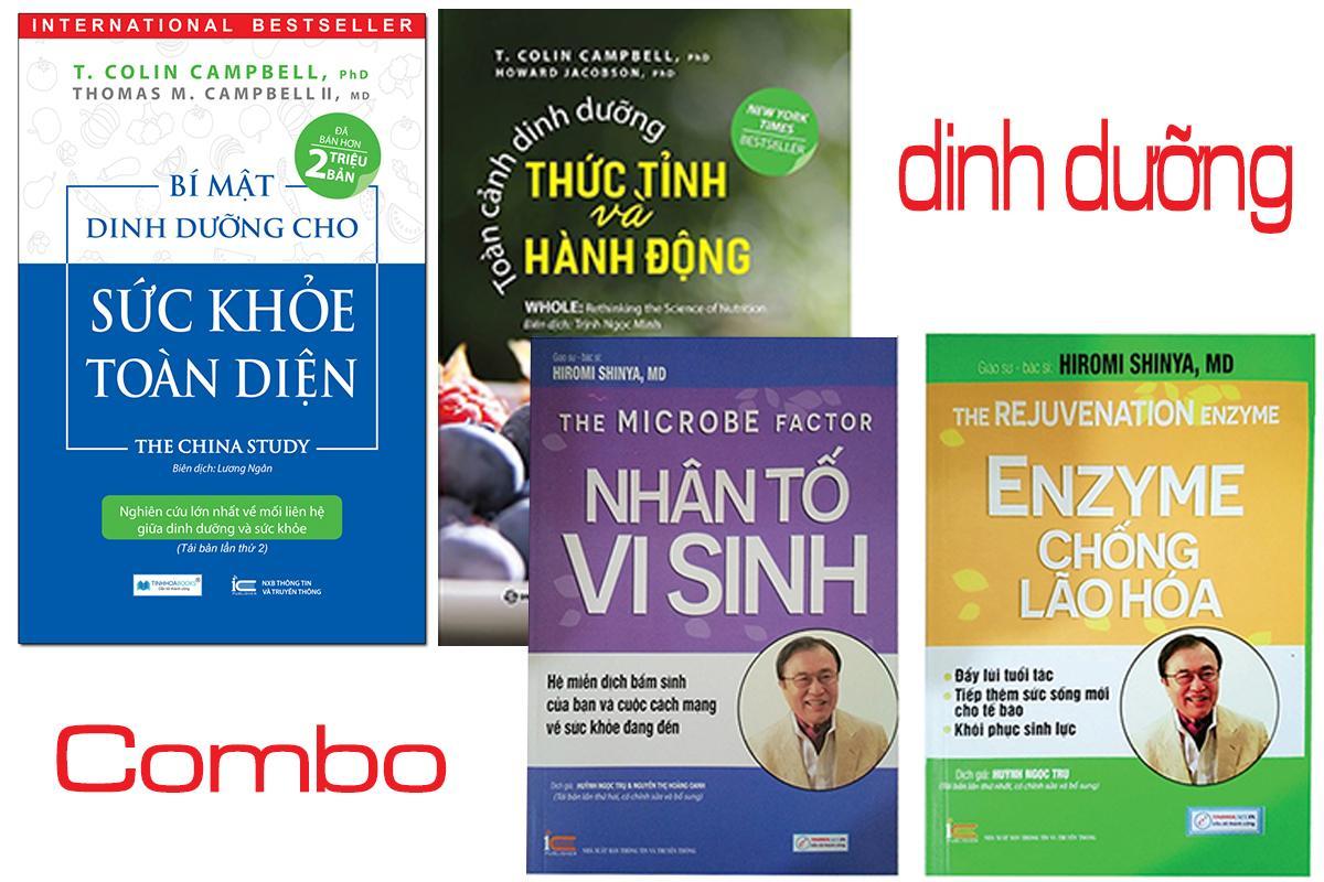 Mua COMBO 4 CUỐN SÁCH DINH DƯỠNG - Bí mật dinh dưỡng cho sức khỏe toàn diện, Toàn cảnh dinh dưỡng thức tỉnh và hành động, Nhân tố vi sinh, Enzyme chống lão hóa