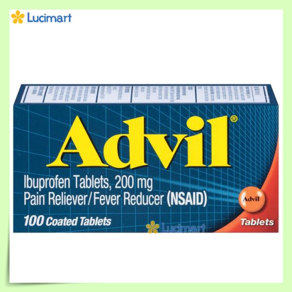 Viên uống giảm đau, hạ sốt của Mỹ, Advil 200mg 100 viên (hạn dùng 2023)