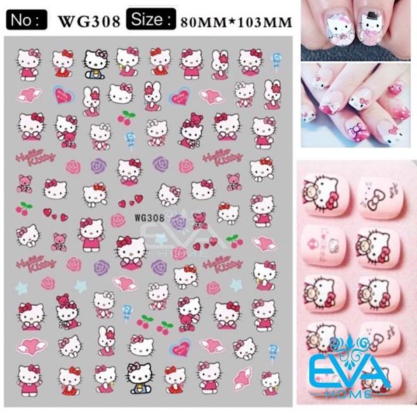 Miếng Dán Móng Tay 3D Nail Sticker Hoạt Hình Mèo Hồng Kity WG308 giá rẻ